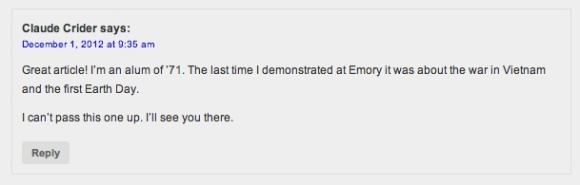 """""""The last time I demonstrated at Emory it was about the war in Vietnam and the first Earth Day."""""""