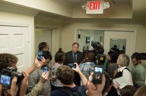 Students occupying the admin building catch VP Gary Hauk on camera (Photo: Jason Francisco)