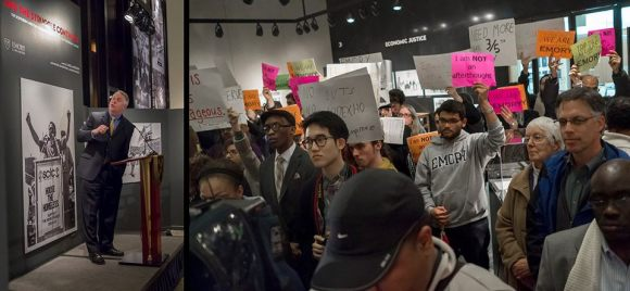 Protesters greet Wagner at the SCLC launch. Photo: Jason Francisco.