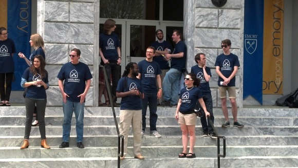 "SRC members wearing ""No confidence"" t-shirts on the steps of the admin building"